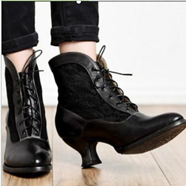 voordelige Dameslaarzen-Dames Laarzen Blokhak Ronde Teen Microvezel Korte laarsjes / Enkellaarsjes Herfst winter Zwart
