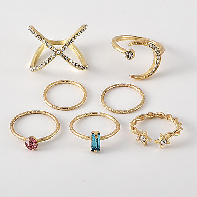 voordelige Dames Sieraden-Dames Ring Ring Set 7pcs Goud Strass Legering Onregelmatig Eenvoudig Klassiek modieus Dagelijks School Sieraden Klassiek MOON Ster