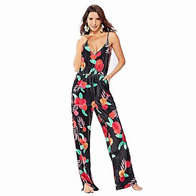 voordelige Nieuwe collectie-Dames Street chic Zwart Jumpsuit, Bloemen Print S M L