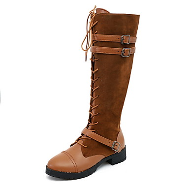 voordelige Dameslaarzen-Dames Laarzen Lage hak Ronde Teen Suède Kuitlaarzen Herfst winter Zwart / Bruin / Lichtbruin