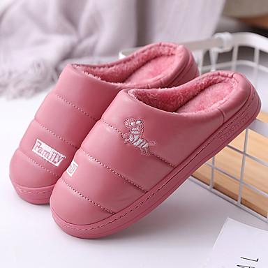 voordelige Damespantoffels & slippers-Dames Slippers & Flip-Flops Platte hak Ronde Teen PU Informeel Wandelen Winter Rood / Roze