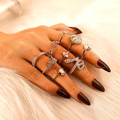 voordelige Dames Sieraden-Dames Ring Ring Set 9pcs Goud Strass Legering Onregelmatig Klassiek Vintage modieus Lahja Dagelijks Sieraden Retro Slang Kroon