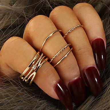 voordelige Dames Sieraden-Dames Ring Ring Set 5 stuks Goud Strass Legering Onregelmatig Eenvoudig Klassiek modieus Dagelijks School Sieraden Retro Lucky