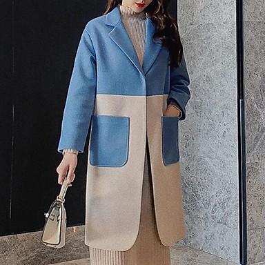 voordelige Nieuwe collectie-Dames Dagelijks Herfst winter Lang Jas, Kleurenblok Rechte Kraag Lange mouw Polyester blauw