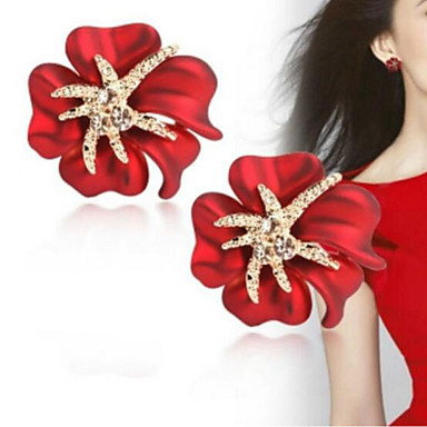 voordelige Dames Sieraden-Dames Oorknopjes 3D Bloem Klassiek Modieus Gesimuleerde diamant oorbellen Sieraden Zwart / Rood / Donkerblauw Voor Dagelijks 1 paar