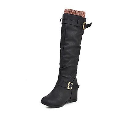 voordelige Dameslaarzen-Dames Laarzen Verborgen hiel Ronde Teen PU Knielaarzen Informeel / minimalisme Winter Zwart / Bruin / Geel