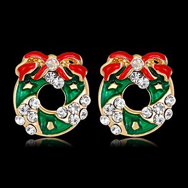 voordelige Dames Sieraden-Dames Oorknopjes 3D Kostbaar Strik Modieus Verguld oorbellen Sieraden Regenboog Voor Kerstmis Feest Lahja Festival 1 paar