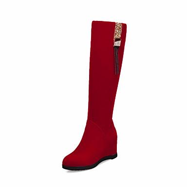 voordelige Dameslaarzen-Dames Laarzen Verborgen hiel Ronde Teen PU Knielaarzen Informeel / Brits Herfst winter Zwart / Rood / Feesten & Uitgaan