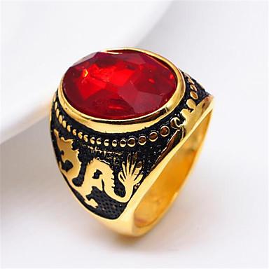 voordelige Herensieraden-Heren Bandring Ring 1pc Rood Koper Verzilverd Glas Geometrische vorm Vintage Modieus Dagelijks Straat Sieraden Vintagestijl Draak Kostbaar Cool