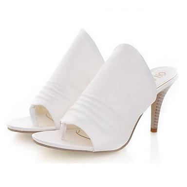 voordelige Damespantoffels & slippers-Dames Slippers & Flip-Flops Naaldhak Open teen PU Lente zomer Zwart / Wit