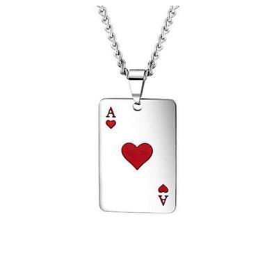 voordelige Dames Sieraden-Heren Hangertjes ketting meetkundig Poker Vintage Titanium Staal Zwart Rood 60 cm Kettingen Sieraden 1pc Voor Lahja Dagelijks