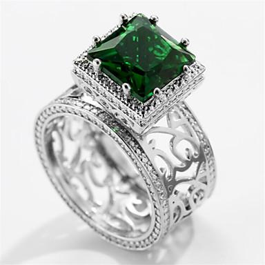 voordelige Herensieraden-Heren Ring Synthetische Smaragd 1pc Zilver Messinki Geometrische vorm Modieus Dagelijks Feestdagen Sieraden Bloem Cool