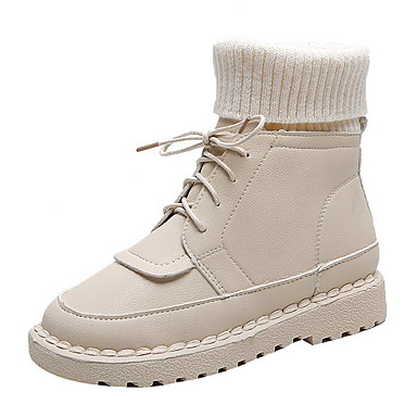 voordelige Dameslaarzen-Dames Laarzen Plateau Ronde Teen Rubber / Canvas Kuitlaarzen Herfst winter Zwart / Bruin / Beige