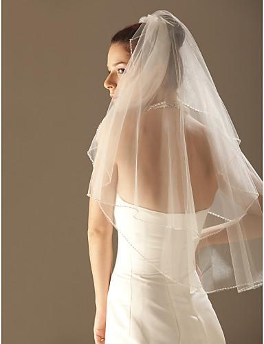 Two-tier Beaded Edge Wedding Veil Elbow Veils Veils for Short Hair With 33.46 in (85cm) Tulle A-line, Ball Gown, Princess, Sheath/