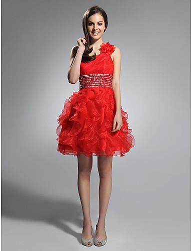 abordables robe invitée mariage-Robe de Soirée Une Epaule Courte / Mini Organza Soirée Cocktail Robe avec Billes / Volants en cascade par TS Couture®