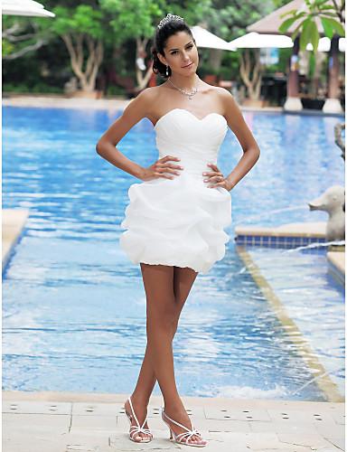 abordables Vestidos de Novia-Salón Escote Corazón Corta / Mini Satén Vestidos de novia hechos a medida con Falda Plegada / En Cruz por LAN TING BRIDE® / Vestidos Blancos