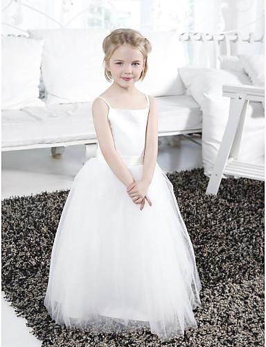Βραδινή τουαλέτα Μακρύ Φόρεμα για Κοριτσάκι Λουλουδιών - Σατέν / Τούλι Αμάνικο Λεπτές Τιράντες με Που καλύπτει / Ζώνη / Κορδέλα / Βολάν με LAN TING BRIDE® / Άνοιξη / Καλοκαίρι / Φθινόπωρο / Χειμώνας