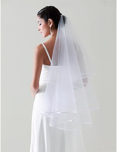 Μίας Βαθμίδας Φιόγκος Κορδέλας Πέπλα Γάμου Πέπλα Δαχτύλων με 55,12 ίντσες (140εκ) Τούλι Γραμμή Α / Βραδινή τουαλέτα / Πριγκίπισσα / Κρεμαστό Πέπλο