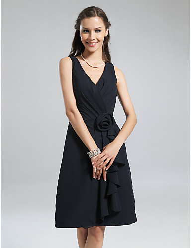 A-Line V Neck Knee Length Chiffon Bridesmaid Dress with Flower Ruffles Side Draping by LAN TING BRIDE®