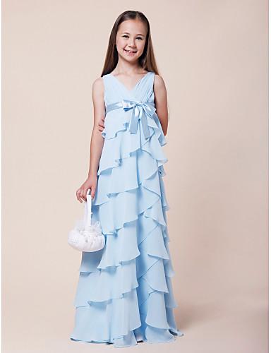 Γραμμή Α Λαιμόκοψη V Μακρύ Σιφόν / Ελαστικό Σατέν Φόρεμα Νεαρών Παρανύμφων με Φιόγκος(οι) με LAN TING BRIDE®