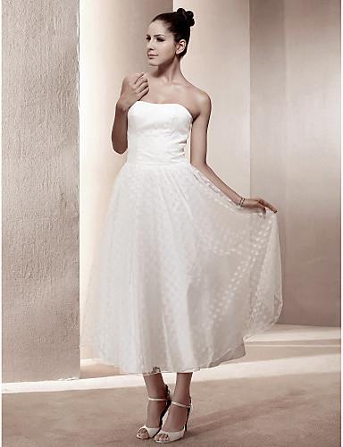 A-linje Prinsesse Stropløs Te-længde Blondelukning Satin Bryllupskjole med Drapering ved LAN TING BRIDE®