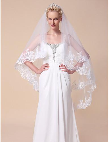 monista valsa tule véus de noiva com borda do laço applique
