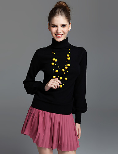 Turtleneck Puffed Sleeve Cashmere Sweater (4 colors)