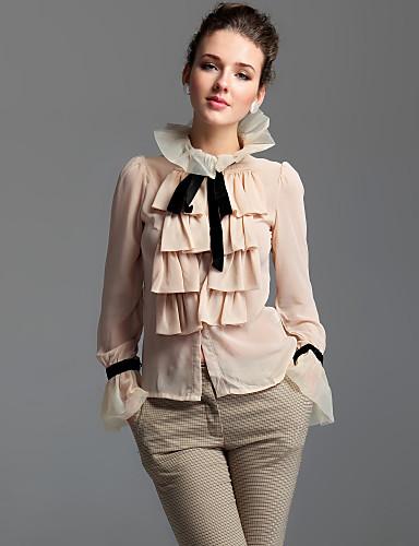 ts jakkeslaget ruffle foran bluse skjorte