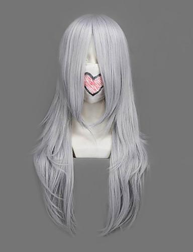 billige Video Spil Cosplay Parykker-Final Fantasy Yazoo Herre 25 inch Varmeresistent Fiber Sølv Anime Cosplay Parykker