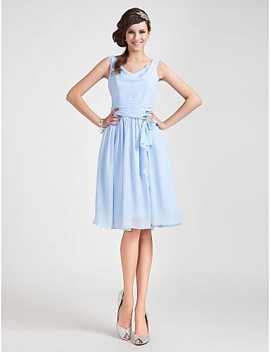 A-Line Princess Cowl Neck Knee Length Chiffon Bridesmaid Dress with Draping Sash / Ribbon Ruched Crystal Brooch by LAN TING BRIDE®