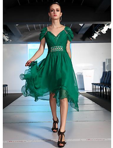 A-line V-neck Asymmetrical With Beading Evening/ Prom Dress