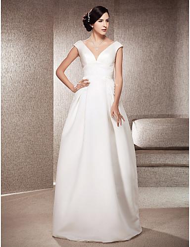 Linia -A Prințesă În V Lungime Podea Satin Rochii de mireasa personalizate cu Drapat de LAN TING BRIDE®