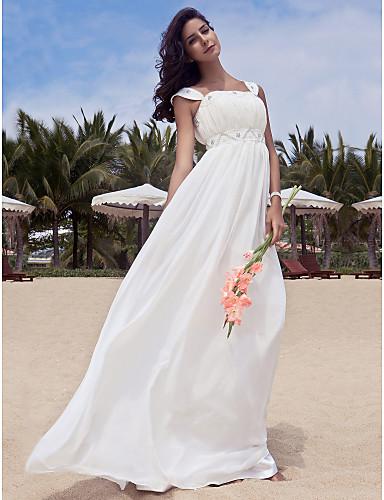 Γραμμή Α Τετράγωνη Λαιμόκοψη Μακρύ Σιφόν Φορέματα γάμου φτιαγμένα στο μέτρο με Χάντρες / Που καλύπτει με LAN TING BRIDE®