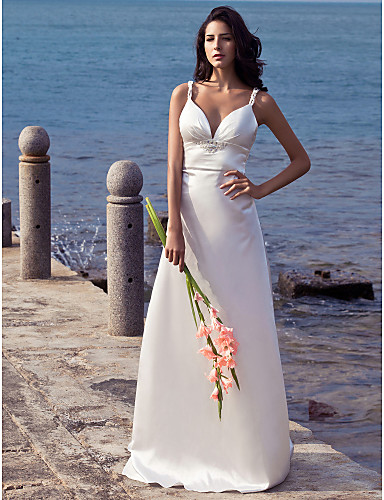 Sheath / Column Straps Sweep / Brush Train Stretch Satin Made-To-Measure Wedding Dresses with Beading by LAN TING BRIDE® / Open Back