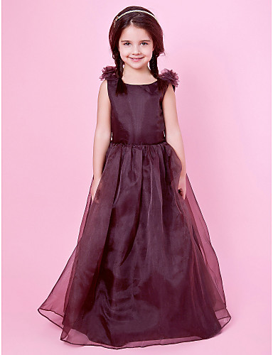 A-Line Princess Floor Length Flower Girl Dress - Organza Satin Sleeveless Jewel Neck with Draping by LAN TING BRIDE®
