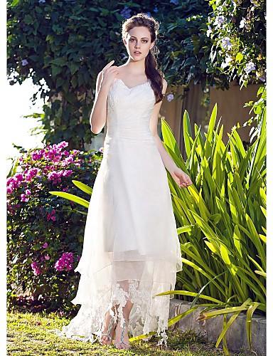 A-Şekilli V Yaka Asimetrik Organze Dantel ile Kıyafetli Gelinlikler tarafından LAN TING BRIDE®