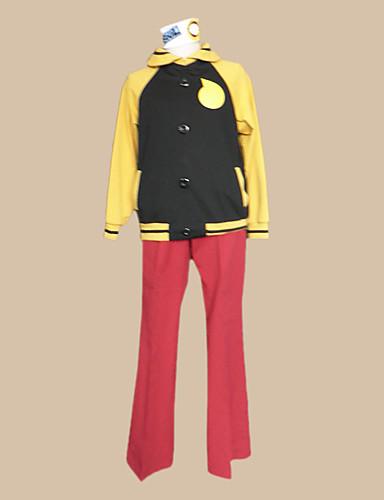 billige Cosplay og kostumer-Inspireret af Sjæle spiser Black Star Anime Cosplay Kostumer Japansk Cosplay Kostumer Farveblok Langærmet Frakke / Bukser / Hovedstykke Til Herre