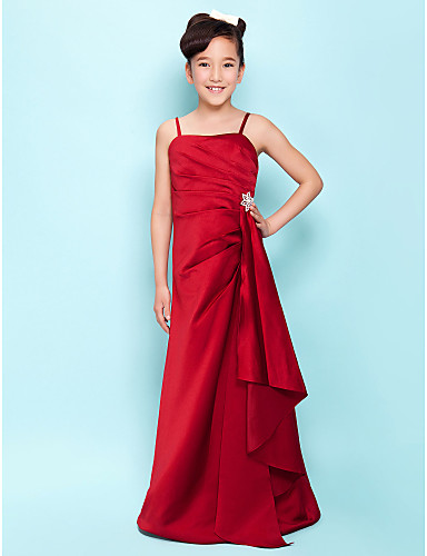 A-Line Spaghetti Straps Floor Length Satin Junior Bridesmaid Dress with Crystal Brooch Cascading Ruffles Side Draping by LAN TING BRIDE®