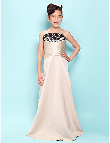 A-Line Princess Spaghetti Straps Scalloped Floor Length Satin Junior Bridesmaid Dress with Lace Criss Cross by LAN TING BRIDE®