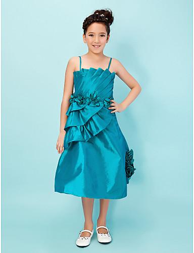 Ball Gown Spaghetti Straps Tea-length Taffeta Junior Bridesmaid Dress