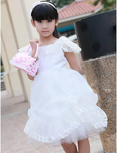 a-line firkantet blonde satin blomst pige kjole