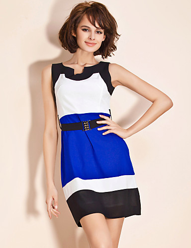 TS Tri-color Belted Dress