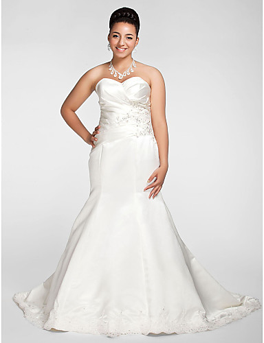 9816ef4910 Plus Size Mermaid   Trumpet Sweetheart Neckline Chapel Train Satin  Made-To-Measure Wedding Dresses with Beading   Appliques   Criss-Cross by  LAN TING BRIDE®