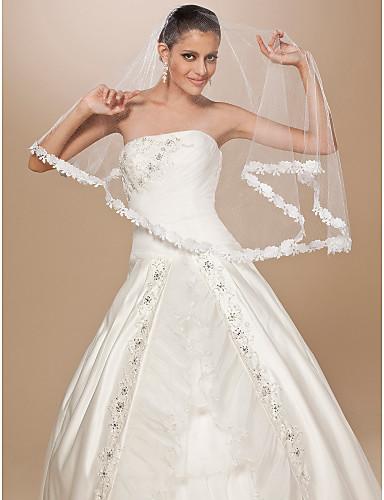 One-tier Čipka aplicirano Edge Vjenčani velovi Elbow Burke S Cvijet od satena 62.99 u (160cm) Til Retka, Ball haljina, princeza, Plašt /