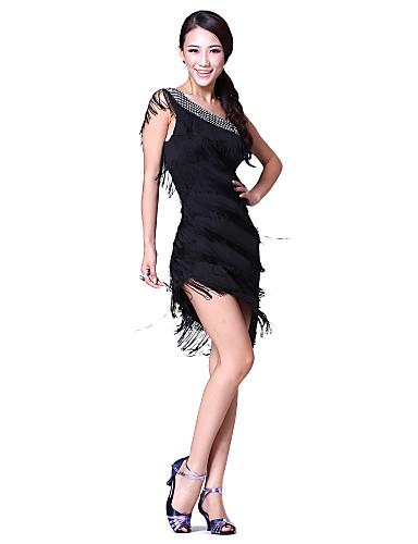 89aa33846fa4 Balli latino-americani Vestiti Per donna Prestazioni Cotone   Poliestere  Nappa   Cristalli   Strass Senza maniche Naturale Abito   Ballo latino    Esibizione