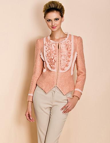 ts flor decorar zíper casaco de tweed