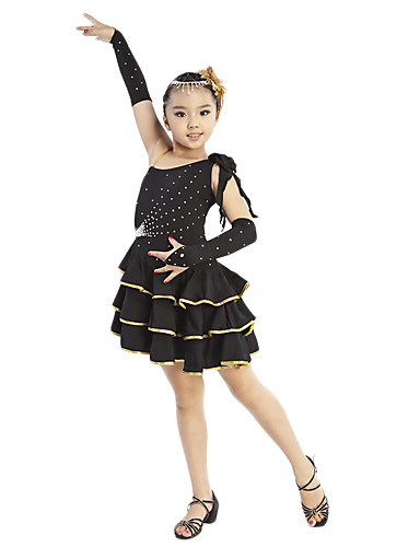 Dancewear Viscose With Rhinestone 3 Tiers Performance Latin Dance Dress For Children More Colors