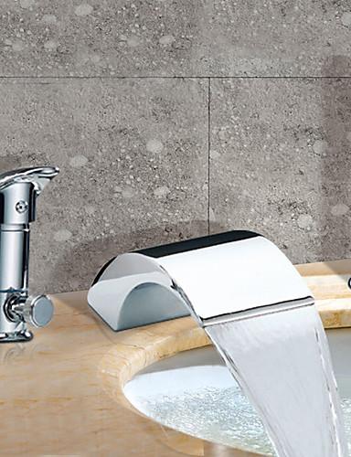 billige Sidesray-Badekarskran - Moderne Krom Romersk kar Keramisk Ventil Bath Shower Mixer Taps / To Håndtak tre hull