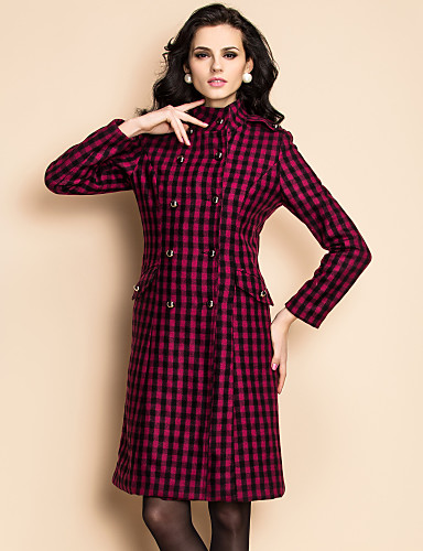 TS Stand Collar Double Breasted Checked Tweed Coat