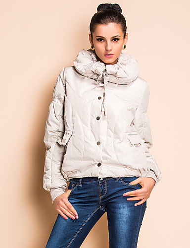 TS Hoodied Long Sleeves Lapel Down Jacket (2 Colors)